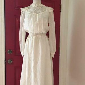 Vintage prairie white lace boho cotton dress-M